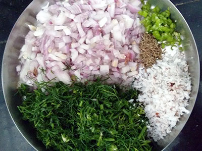 ingredients for sabsige soppu akki rotti or rice flour roti