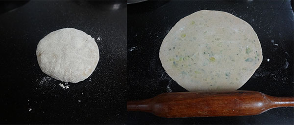 rolling aloo paratha