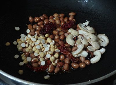 red chili, cashews and fried gram for avalakki mixture or snacks
