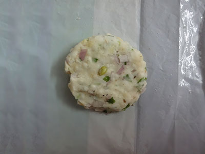 dough on plastic sheet for avarekalu akki rotti