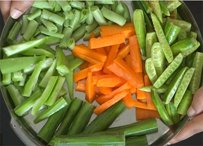 mixed vegetables for aviyal or avial