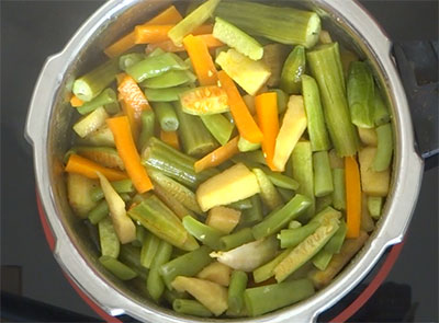 cooked vegetables for aviyal or avial