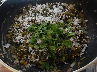 coconut and coriander leaves for bassaru or bas saaru palya