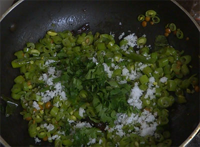 coconut and coriander leaves for beans palya or stir fry