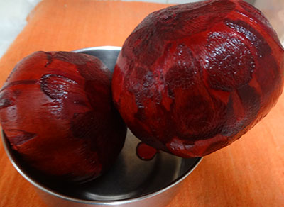 peeled beetroot for beetroot mudde huli or beetroot sambar