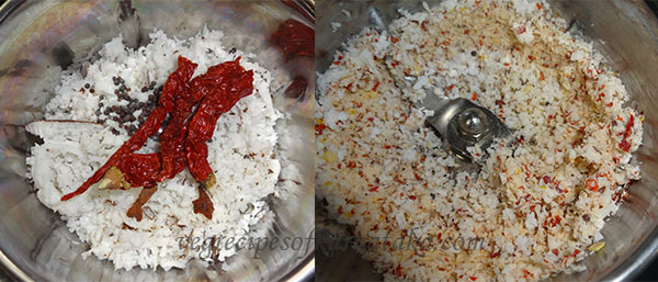 coconut and red chili for bendekayi palya or bhindi fry