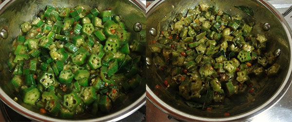 cooking ladies finger for bendekayi palya or bhindi fry