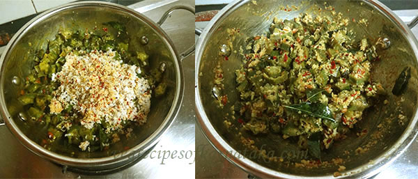 adding ground masala for bendekayi palya or bhindi fry