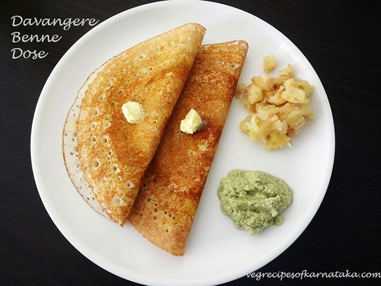 Davanagere benne dose recipe, how to make davangere benne dosa
