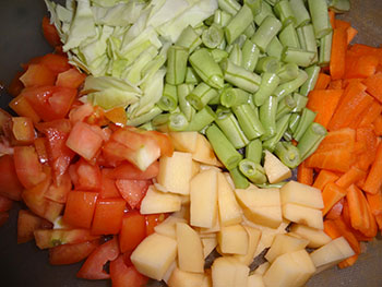 cutting vegetables for bisi bele bath