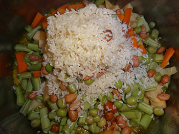 cooking vegetable and rice for bisi bele bath