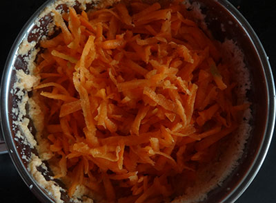 grated carrot for carrot raita or thambuli