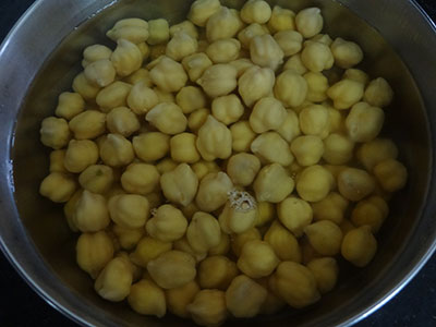 soaking white chickpeas for chana masala or chole masala
