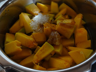 cooking pumpkin for pumpkin sambar or chinikayi sambar