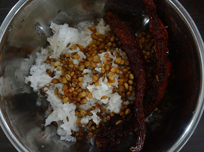 grinding masala for pumpkin sambar or chinikayi sambar