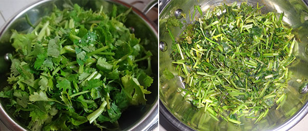fry coriander leaves for coriander leaves chutney