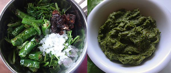 grinding chili and leaves for coriander leaves chutney
