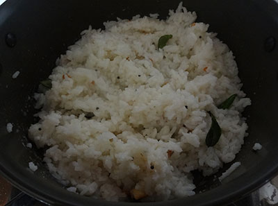 mix over cooked rice for mosaranna or curd rice