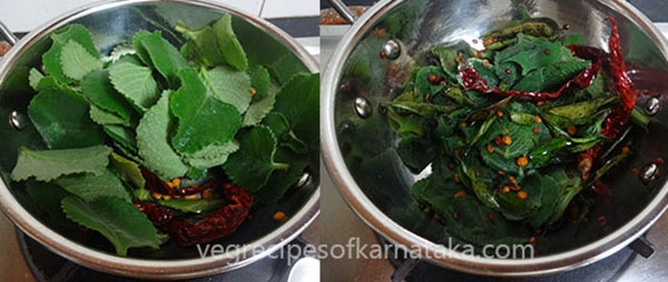 fry leaves for doddapatre or sambarballi chutney