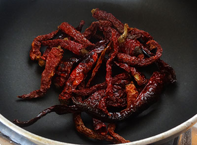 roasting red chili for agase chutney pudi or flax seeds chutney powder