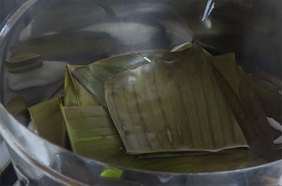 rice batter in banana leaves for genasale or kadubu recipe