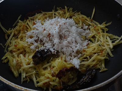 grated coconut for sweet potato chutney or genasina chutney