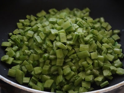 Chopped cabbage for gorikai palya or cluster beans stir fry