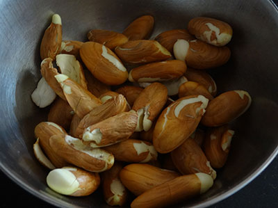 deskinned jackfruit seeds for halasina beejada palya or jackfruit seeds stir fry