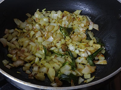 frying onion for halasina beejada palya or jackfruit seeds stir fry