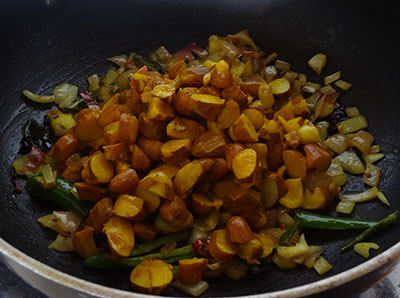 cooked jackfruit seeds for halasina beejada palya or jackfruit seeds stir fry