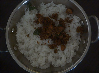 cooked rice for curry leaves rice or karibevu soppina ricebath