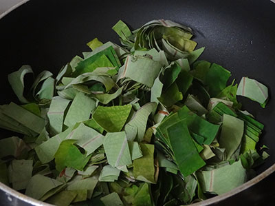 chopped leaves for kesuvina ele chutney or taro leaves chutney