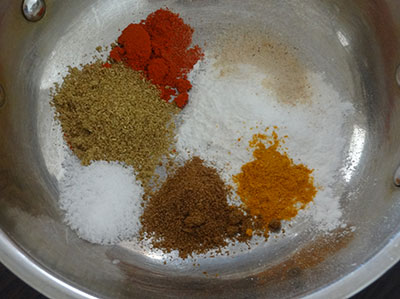 spice powders for kesuvina gadde palya or arbi stir fry