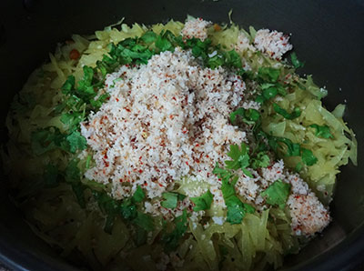 coconut and coriander leaves for kosu palya or cabbage stir fry
