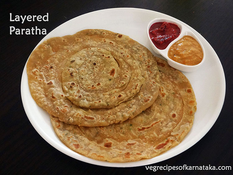 layered parota recipe, laccha paratha recipe