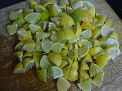 chopped lemon for lemon pickle or nimbe hannu uppinakayi