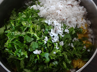 chopped leaves and coconut for matvadi palya or matawadi or matodi