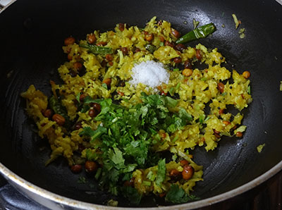 salt and coriander leaves for mavinakai chitranna or mango rice