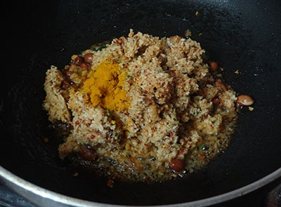 ground masala and turmeric powder for mavinakayi chitranna or mango rice
