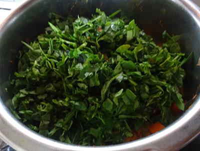 methi leaves for menthe soppina palle or methi dal
