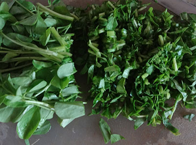 chopped fenugreek leaves for menthe soppu rice bath or methi rice