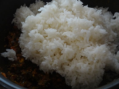 cooked rice for menthe soppu rice bath or methi rice