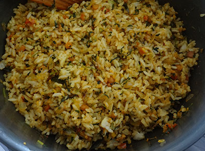 mixing menthe soppu rice bath or methi rice