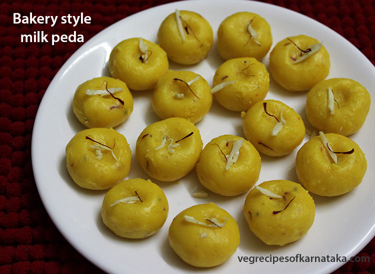 bakery style kesar milk peda recipe