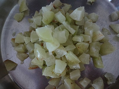 chopped gooseberry for nellikai thokku or amla thokku