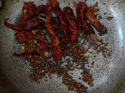 roasted spices for nellikai thokku or amla thokku