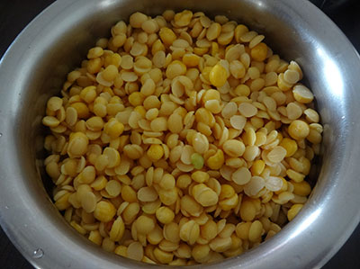 rinse and soak toor dal and channa dal for nuchinunde or nucchinunde