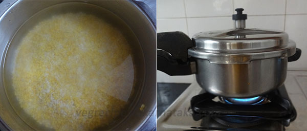 cook rice and dal for karnataka style pongal