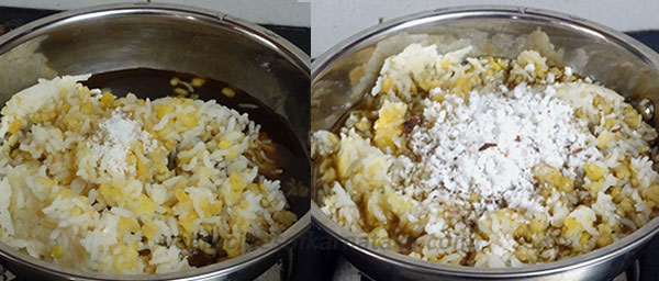 mixing for karnataka style sweet pongal