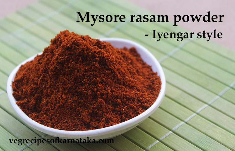 Mysore rasam powder or Iyengar puliyogare powder recipe